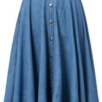 Blue Denim Midi A-line Skirt