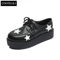 COOTELILI 35-39 Spring Solid Casual Women Shoes Flat Platform Lace-Up Creepers Ladies Shoes Round Toe Girls Shoes