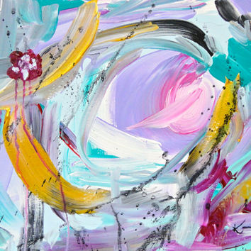 Original Abstract Painting 11x14 Canvas Acrylic Contemporary Art Purple Pink White Turquoise Green Black