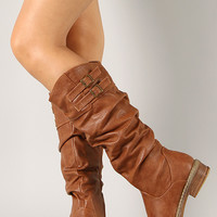 Yita-11 Buckle Slouchy Round Toe Riding Knee High Boot