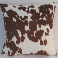 "Brown Faux Cowhide Pillow, 17"" Square, Spotted Hide, Cowboy Western Decor, Zipper Cover Only Or Insert Included, Ready Ship"