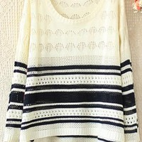 Round neck long sleeve hollow out color striped sweater from Fanewant