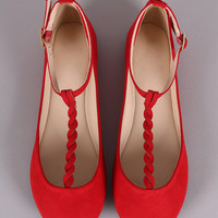 Bamboo Suede Braided T-Strap Ballet Flat