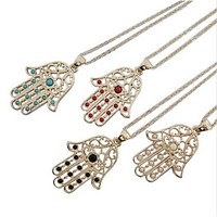 BEADY LUCKY HAMSA NECKLACE - GOLD w/ TURQUOISE CHARM