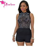 Dear Lover Bodysuits Women Rompers Solid Black Skinny Playsuit Sleeveless Glittering Rhinestones Slim Bodysuit Jumpsuits LC32037