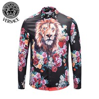 VERSACE Popular Men Women Stylish Print Long Sleeve Lapel Shirt Sweater