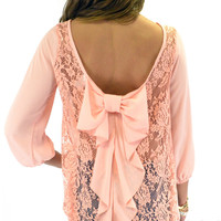 Kitty Hawk Peach Lace Bow Back Top