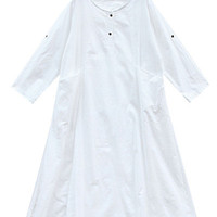 White Buttoned Midi Dress with Pockets