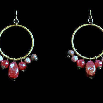 1970's Boho Beaded Hoop Earrings, In Brass with Red and Wood Beads