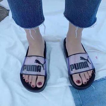 PUMA black and white transparent slippers laser sandals and slippers men and women casual beach sandals and slippers