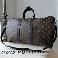 Louis Vuitton LV Large-capacity Classic Duffel Bag Handbag Shoulder Crossbody Bag Letter Check Printed Fashion Travel Bag for Men and Women