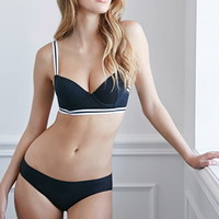 Varsity-Striped Underwire Bra