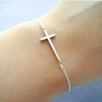 Cross Pearl, Cute, Dainty, Sterling Silver Chain, Bracelet