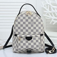 LV Louis Vuitton 2018 classic print logo backpack college wind slung shoulder bag white plaid