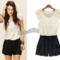 Fashion Women Summer Lace cocktail party evening jumpsuit overall shorts 4 Sizes