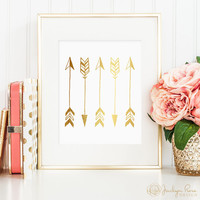 Gold foil arrows, printable wall art decor, vertical arrows, faux gold foil, art for office, bedroom decor, instant digital download JPG)