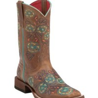 Anderson Bean Macie Bean Women's Whiskey Brown w/ Multicolor Floral Embroidery Square Toe Boots