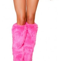 Hot Pink Furry,leg warmers Rave Clothing go go accessories