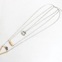 Geometric Golden Exquisite Diamond Ring Triple Sweater Chain Necklace