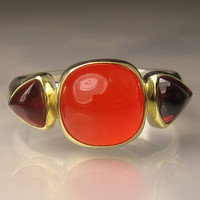 Three Stone Ring - Carnelian and Garnet - 18k Gold and Sterling Silver