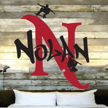 """Skateboard Wall Name Decal For Skaters -Boys Room Initial and Name vinyl Monogram Wall Lettering - Nursery - Boys Room - 22""""H x 19""""W"""