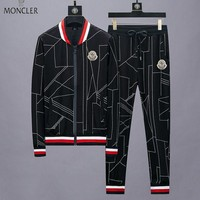 Moncler New fashion couple long sleeve coat and pants two piece suit Black