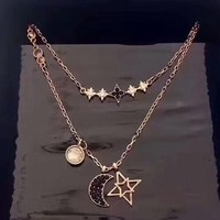 Swarovski Fashion New Star Moon Diamond Women Sterling Silver Personality Two Necklace