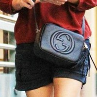 Gucci fashion hot double G lady single shoulder fringed bag Black