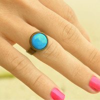 Ring Stone Turquoise Cabochon Bead Bohemian Hippie Eclectic Large Bronze Base Statement Jewelry Adjustable
