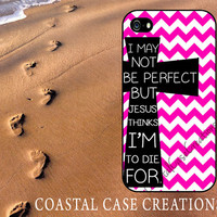 Pink Chevron Cross Quote Apple iPhone 4 and 5 Hard Plastic or Rubber Phone Case Cover Original Design