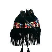ASOS Leather Duffle Bag With Flower Embroidery