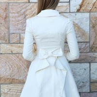 Cream Collared Jacket with Bow Back Detail