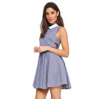 Blue and White Stripes Sleeveless Dress with Collar