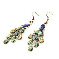 Bronze Colour Restoring Ancient Ways Peacock Earrings with Color Crystal Paved