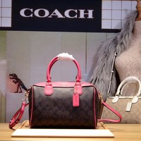 COACH WOMEN'S PVC AND LEATHER BOSTON HANDBAG SHOULDER BAG