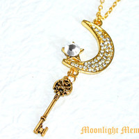 Sailor Moon Necklace - Sailor Moon's Moon Stick in the Form of a Key - Gold Swarovski Crystal Sailor Moon Necklace Jewelry Christmas Gift