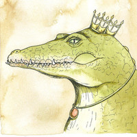 Nile Crocodile  Queen 8x10 hand painted print by poordogfarm