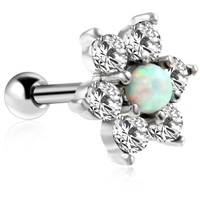 1PC Surgical Steel Tragus Earrings Cartilage Piercings Flower Opal Tragus Piercing Ear Tragus Piercing Ear Ring Body Jewelry