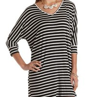 Oversized Striped T-Shirt Dress by Charlotte Russe - Black/White