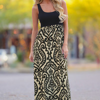 If It's Meant To Be Maxi Dress - Black/Taupe
