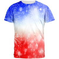 4th of July American Fireworks All Over Adult T-Shirt