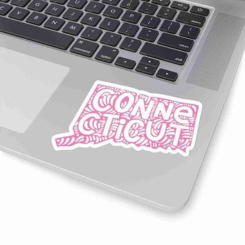Connecticut State Shape Sticker Decal - Pink