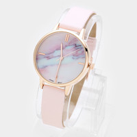 Marble Dial Faux Leather Band Watch Pink