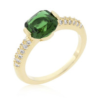 Green Cushion Cut Cubic Zirconia Engagement Ring, size : 06