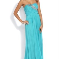 Strapless Long Homecoming Dress with Stone Detail Bodice