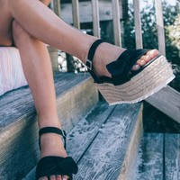 Boca Beach Black Platform Espadrille Sandals