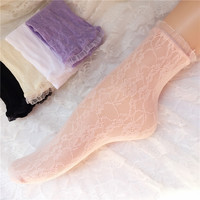 Fashion Women Lace Ruffle Frilly Ankle Socks Harajuku Lovely Cute Vintage Retro Floral Lady White Pink sweet Princess loose sox