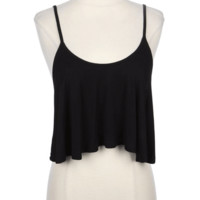 Add a simple touch with the Quick & Easy Flare Crop Top. Featuring a round neckline, super soft jersey fabrication, flare bottom hem, spaghetti shoulder straps and cross straps tie at back. Pair with overall denim dress or high waist shorts.