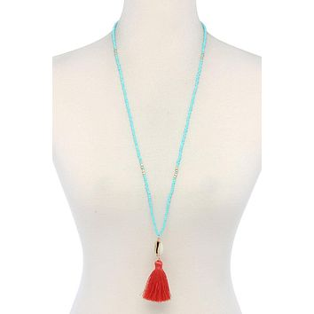 Cowrie Shell Tassel Beaded Necklace