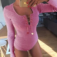 Jumpsuits for women 2016 pink peach heart chain bodysuit sequined cross lacing long sleeved knitted spandex playsuit